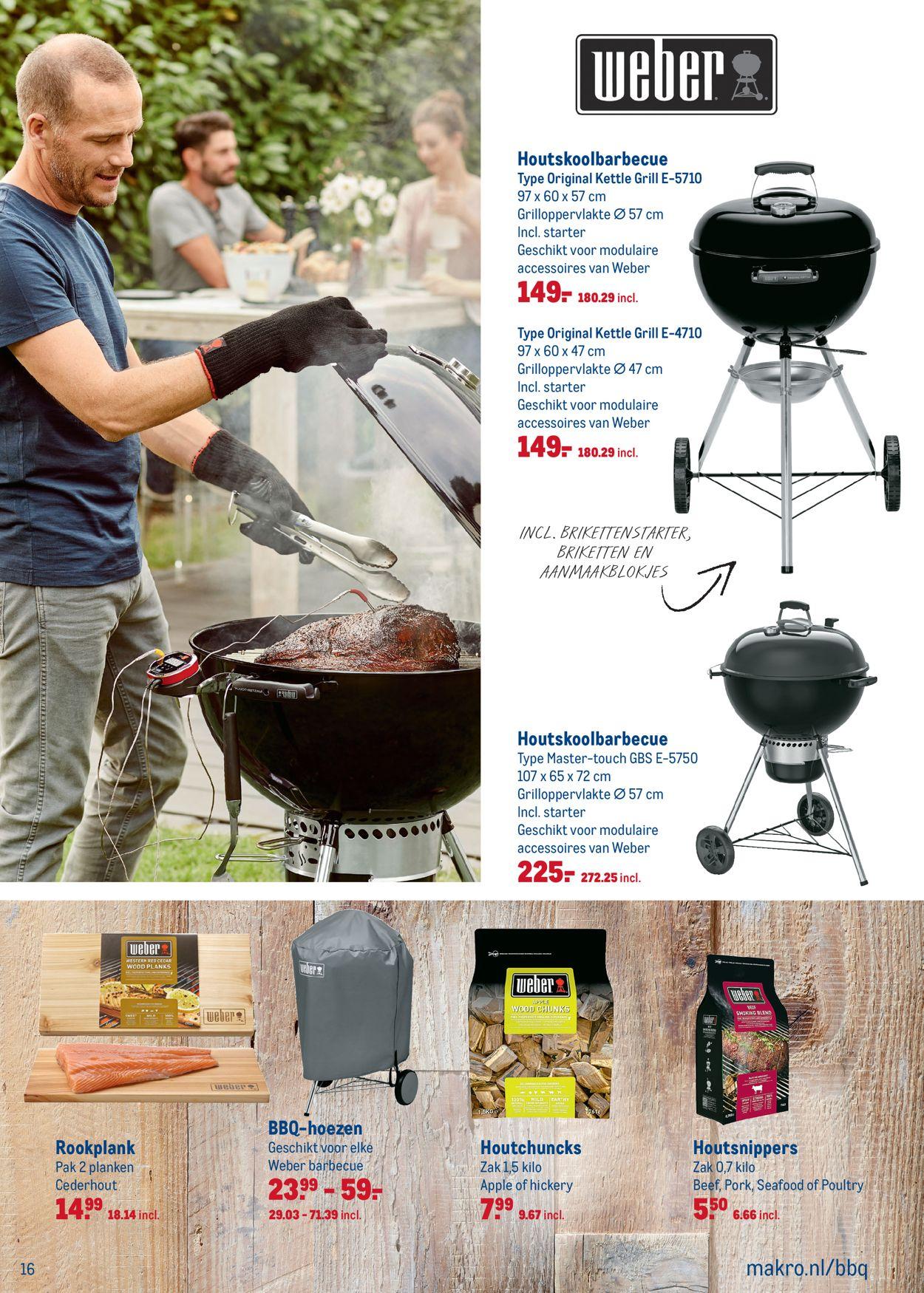 Weber houtskool barbecue folder aanbieding bij Makro details